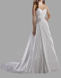 Enchanting A-line Sweetheart Court Train Taffeta Wedding Dress with Beading #Wedding #Dress