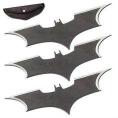 """Triple Action Bat Wing Throwing Knife Set by General Edge. $13.83. These fun throwers feature an amazing thick stamped metal construction with sharpened blade edges. This item is made from durable, high quality 440 Stainless Steel.. This three piece set comes with an amazingly strong nylon pouch for extra protection. Each measures 6"""" x 2""""."""