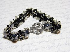 Studded Elegance READY TO SHIP Hematite Black Studded Beadweaving Bracelet by WhimsyBeading, $40.00