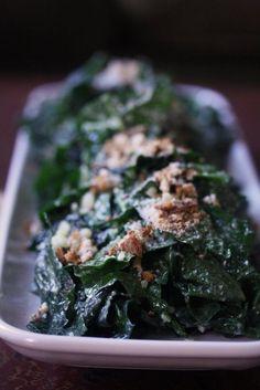 Kale Caesar Salad with Roasted Garlic Dressing