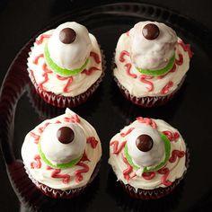 halloween parties, doughnut, idea, white chocolate, halloween cupcakes, halloween treat, red velvet cupcakes, chocolate candies, eyebal cupcak