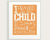 "Bible Nursery Decor, 1 Samuel 1:27 ""I Prayed for this Child"" Christian Typography Print, You Choose Color 8x10, Nursery Art, Baby Gift"