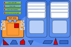 """Compare shapes and describe their differences. Compare two shapes using the comments listed, pressing pos/neg to get opposite statements. The orange """"tester"""" panel is handy for focusing on one shape; rotating it while looking for right angles and lines of symmetry. Can any of the remaining shapes be matched up with the two original shapes? If so, put them in the same window - start with one statement in each window to make this exercise easier."""