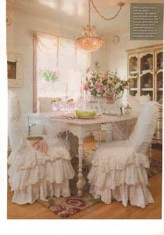 dining rooms, lace, chair covers, ruffl, shabbi chic, dining chairs, shabby chic kitchen, vintage life, shabby chic rooms