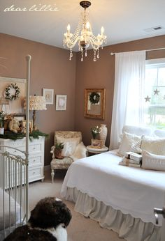 girl's nursery decorated for Christmas, day bed in room with crib sweet girl, wall colors, house tours, paint color, girl nurseries, master bedrooms, christma nurseri, dear lilli, christmas houses