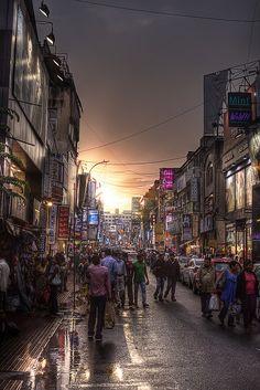 Sunset on Commercial Street, Bangalore