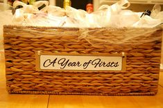 """DIY Bridal Shower Wine Poems --read each of these poems at the bridal shower to celebrate """"A Year of Firsts"""" for the bride and groom---a huge hit and such an adorable and thoughtful gift!"""