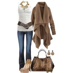sweater, boot, day outfits, cloth, coach purses, fall outfits, belt, brown, closet