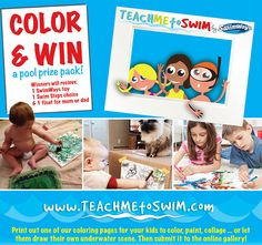 National Learn to Swim Day Coloring Contest - Learn more about our color contest - kids can even submit their own artwork with the help of their parents or guardians #contest
