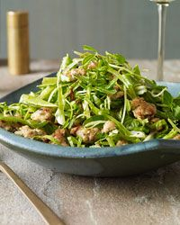 Warm Escarole Salad with Snow Peas and Sausage Recipe from Food & Wine