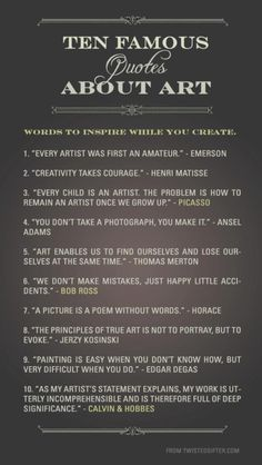 10 Famous quotes about art - Number 10 is from Calvin & Hobbes!