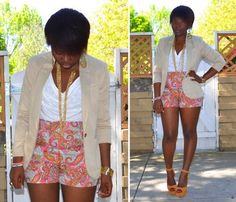 More & more I need colors in my life african shorts and blazer, fashionista, paisley short, colors, cream color, awesom short, short styles, closet, fashion fabul