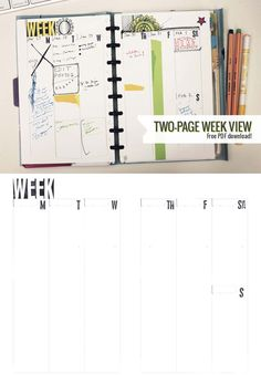 Two-page week view - downloadable template by Ahhh Design #diyplanner #freedownload