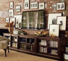 Winslow Media Suite with Glass Doors | Pottery Barn tv walls, living rooms, frame, brick, media rooms, media consoles, live room, pottery barn, entertainment centers