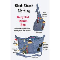 Pattern for Recycled Denim Bag Project Idea, Craft Idea, Denim Bag, Diy Idea, Recycled Denim, Jean Craftspursetot, Bag Patterns, Bags, Recycl Denim