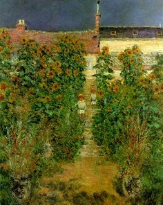 """Claude Monet, """"The Artist's Garden at Vetheuil"""" (1881), oil on canvas (100 cm x 80 cm / 39 3/8 in x 31 1/2 in), private collection. #Landscape #Art"""