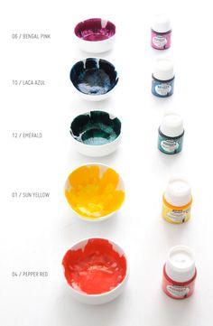 DIY: brushstroke glazed mini bowls
