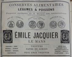 Le Mans. Publicité Emile Jacquis, conserves alimentaires de légumes et poissons. 1882.