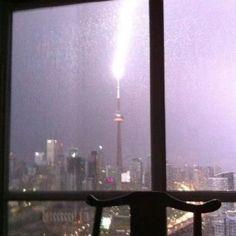 Lightening striking the CN Tower