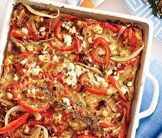 Bell Pepper and Goat Cheese Strata from Epicurious.com #myplate #wholegrain #protein #veggie #dairy