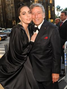 "Lady Gaga and Tony Bennett cozy up on the red carpet for the taping of their ""Cheek To Cheek Live!"" TV special at Lincoln Center on July 28 in New York"