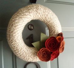 Yarn Wreath Felt Handmade Door Decoration  Lovely 8in by ItzFitz
