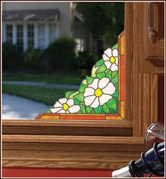 The cheerful colors of our Alena stained glass corners are a beautiful accent for windows, glass doors and mirrors.