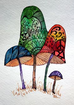 Zentangle art, original art, hand painted watercolor, mushrooms, handpainted artwork, zentangle