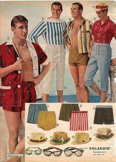 swim wear, hats, sunglasses and...uh, Capri pants for men. Montgomery Ward Summer 1961 Catalog.