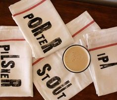 Beer Lover Towel Set - a great gift for a male or female beer lover! These would be fun at your bar or in the kitchen to use daily. #porter #pilsner #ipa #stout