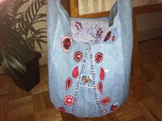 upcycled bag - denim with enhancements..... cool embroidery.