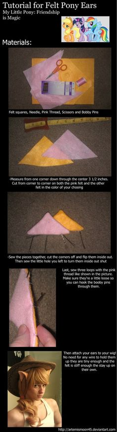 Felt Pony Ears Tutorial MLP:FiM by *ArtemisMoon45 on deviantART