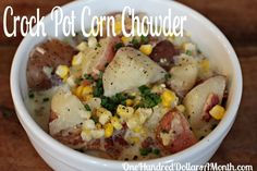 Easy Crock Pot Meals - Corn Chowder with Bacon, Potatoes and Chives | One Hundred Dollars a Month Crock Pots, Corn Chowders, Bacon, Slow Cooker, Easy Crock, Crockpot Recipe, Crockpot Corn, Pots Meals, Crockpot Dinner
