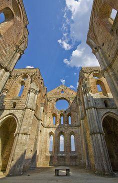 Ruins of the Gothic Abbey of San Galgano, Siena, Tuscany, Italy