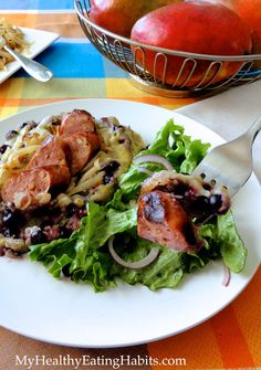 Wild Blueberry Polenta with Grilled Onions and Sausage