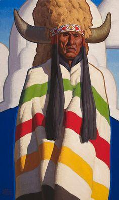 Logan Maxwell Hagege, Buffalo Crow, oil, 50 x 30.