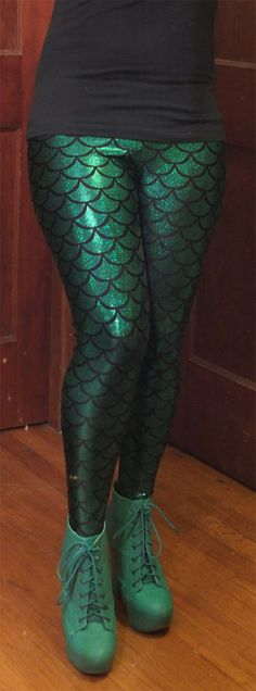 Mermaid Scale Print Holographic Foil Dot Women's Spandex Leggings, Choose from 8 colors. via Etsy.