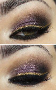 Purple and gold smokey eyes