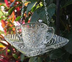 Vintage Sugar Bowl Hanging Bird Feeder Water by ARTfulSalvage, $26.00