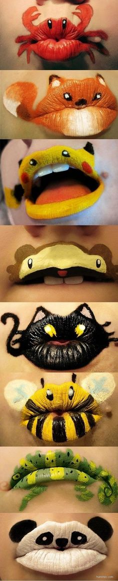Animal lips! Jessica this is a cute idea for everyone in your Dental Office to do for Halloween. kiss, face paintings, halloween costumes, lip art, mouth, makeup lips, lipstick, halloween ideas, kid