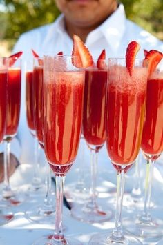 Strawberry mimosas. Strawberry purée instead of orange juice