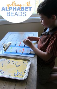 Bead and spell with alphabet beads and pipe cleaners.