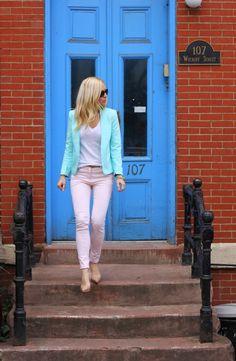 the doors, mint green, pastel pop, blazer, color combos, blue doors, pink pants, outfit, pastel pastel