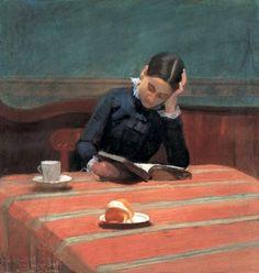 William Stott of Oldham (1857-1900) - Reading by Gaslight (1884)