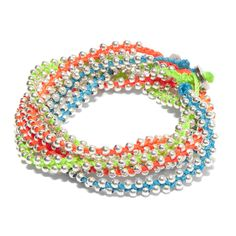Fair Trade Silver Beaded Wrap Bracelet in Neon
