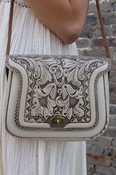 Rare Vintage 70's Cream Tooled Leather hippie boho purse