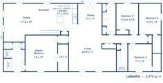 Bedroom Barndominium Floor Plans 60'x40' floor plan, metal home