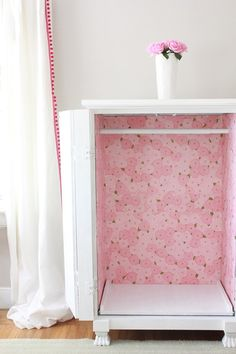 An old armoire into a dress up closet for the kids playroom more