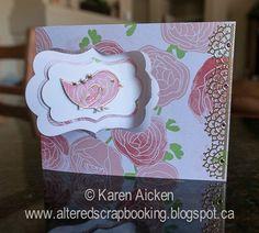 Karen Aicken using the Pop it Ups Katie Label Pivot Card by Karen Burniston for Elizabeth Craft Designs. Also uses ECD peel-offs. - Altered Scrapbooking: Gold and Pink Hello Card