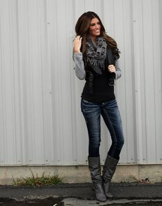 edgy jacket, gray scarf, dark faded jeans, gray boots